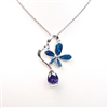 Silver Pendant with Inlay Created Opal & Tanzanite CZ