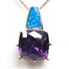 Silver Pendant with Inlay Created Opal and Tanzanite CZ