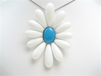 Silver Pendant w/ Inlay Created White & Turquoise