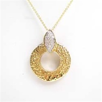 Silver Pendant (Gold Plated) w/ White CZ
