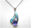 Silver Pendant with Created Opal & Tanzanite CZ