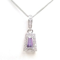Silver Pendant (Rhodium Plated) w/ Wht  and Amethyst CZ.