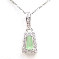 Silver Pendant (Rhodium Plated) w/ Wht and Jade  CZ.