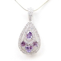 Silver Pendant (Rhodium Plated) w/White and Amethyst CZ