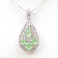 Silver Pendant (Rhodium Plated) w/White and Jade CZ