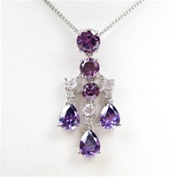 Silver Pendant w/ White and Amethyst CZ