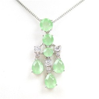 Silver Pendant (Rhodium Plated) w/ White and Jade CZ