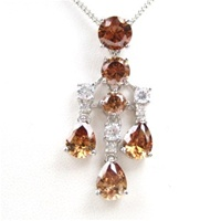 Silver Pendant (Rhodium Plated) w/ White and Smoky Topaz CZ