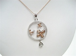 Silver Pendant (Rhodium and Rose Gold plated) w/ White CZ