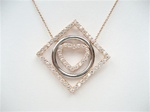 Silver Pendant (Rose Gold Plated & Rhodium Plated) W/ White CZ