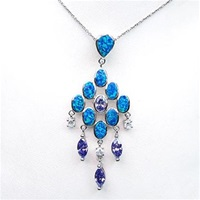 Sliver Pendant with Created Opal, Wht & Tanzanite CZ