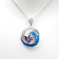 Silver Pendant w/ Inlay Created Opal, White & Tanzanite CZ