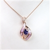 Silver Pendant (Rose Gold Plated) with Inlay Created Opal, White & Tanzanite CZ