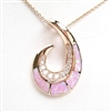 Silver Pendant (Rose Gold Plated) with Inlay Created Opal & White CZ