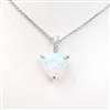 Silver Pendant with Inlay Created Opal & White CZ