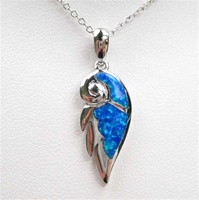 Silver Pendant w/ Inlay Created Opal