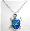 Silver Pendant with Created Opal & White CZ