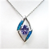 Silver Pendant with Created Opal and Tanzanite CZ