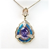 Silver Pendant (Gold Plated) w/ Inlay Created Opal, White & Tanzanite CZ