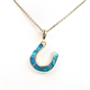 Silver Pendant (Gold Plated) with Inlay Created Opal