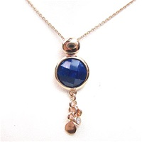 Silver Pendant (Rose Gold Plated) with Facetted Opal