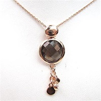 Silver Pendant (Rose Gold Plated) with Facetted Smoky Quartz