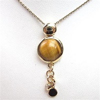 Silver Pendant (Gold Plated) with Tiger Eye