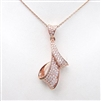 Silver Pendant (Rose Gold Plated) with White CZ