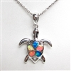 Silver Pendant with Created Opal