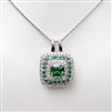 Silver Pendant with White and Emerald CZ