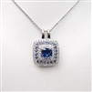 Silver Pendant with White and Sapphire CZ