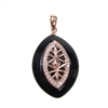 Silver Pendant (Rose Gold Plated) with White CZ and Black Agate