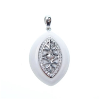 Silver Pendant with White CZ and White Agate