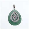 Silver Pendant with White CZ and Dark Aventurine