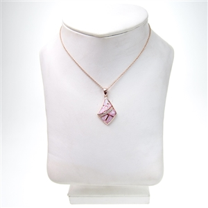 Silver pendant rose gold plated with inlay created opal white cz retail aloadofball Gallery