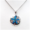 Silver Pendant with Inlay Created Opal - Sand Dollar