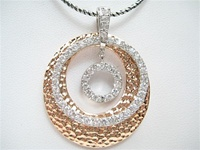 Silver Pendant (Rhodium & Rose Gold Plated) W/ White CZ