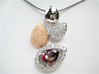 Silver Pendant (Rhodium & Rose Gold Plated) w/ White and Garnet CZ