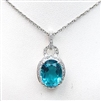 Sterling Silver Pendant with London Blue Mystic Quartz and White CZ