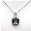 Sterling Silver Pendant with Rainbow Mystic Quartz and White CZ