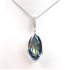 Sterling Silver Pendant with Bluish Mystic Quartz and White CZ