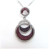 Silver Pendant with White, Amethyst and Ruby CZ