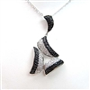 Silver Pendant with White and Black CZ