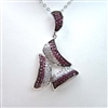 Silver Pendant with White and Ruby CZ