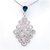 Silver Pendant with White, Light Champagne & Sapphire CZ