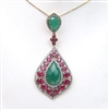 Silver Pendant (Gold & Black Rhodium Plated) with White, Ruby & Green Agate Color CZ