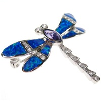 Silver Brooch (Rhodium Plated) w/ Inlay Created Opal, White & Tanzanite CZ