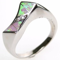 Silver Ring with Inlay Created Opal & White CZ