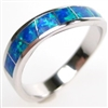 Silver Ring with Inlay Created Opal