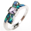 Silver Ring with Inlay Created Opal and Amethyst CZ